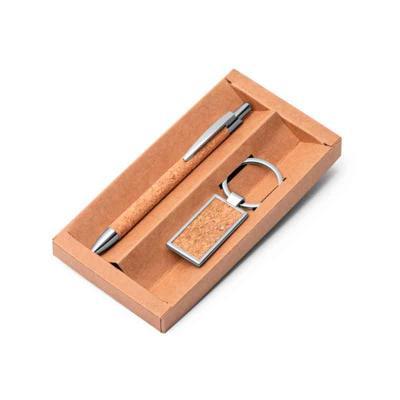 Conjunto caneta e chaveiro