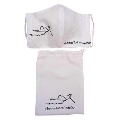 Kit máscara de proteção em tecido camada dupla e saquinho em tecido personalizado