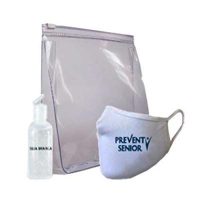 Kit personalizado COVID contendo Máscara reutilizável, necessaire de PVC e Álcool em gel 70%. Tod...