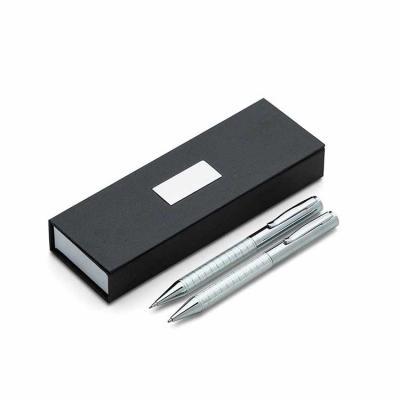 Kit caneta e lapiseira de metal em estojo papelão com placa de metal(parte interna do estojo reve...