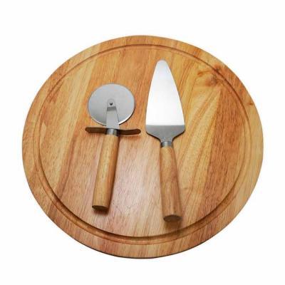 Kit pizza 2 peças com tábua de madeira. Espátula e cortador de pizza com cabos de madeira, tábua ...