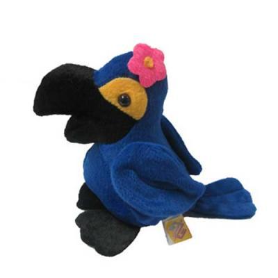 Mascote Arara Azul com Flor.