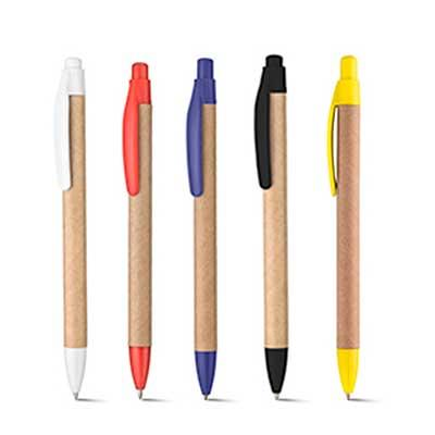 Caneta Reciclada. Com clip plástico e acionamento retrátil. Medidas: 14 cm. Personalização Silk S...