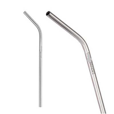 Canudo reutilizável curvado, de aço inox 304, para fins alimentícios. Medida: 206 x 6 mm de diâme...