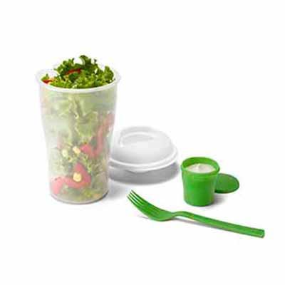 Copo para salada. PP. Com garfo e molheira. Capacidade: 850 ml. ø110 x 190 mm Atenção: este produ...
