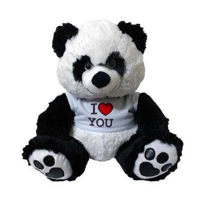 Urso Panda Coleção com Camiseta Personalizavel. Tamanho: 36 cm (sentado)