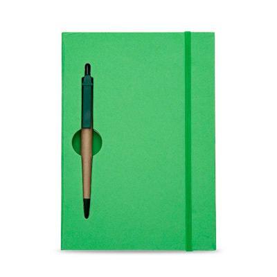 Bloco de Anotações Ecológico com Caneta promocional colorido com caneta. Capa de papelão com reco...