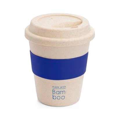 Copo de viagem. Fibra de bambu e PP. Com banda em silicone. Capacidade: 380 ml. Food grade. Ø95 x...