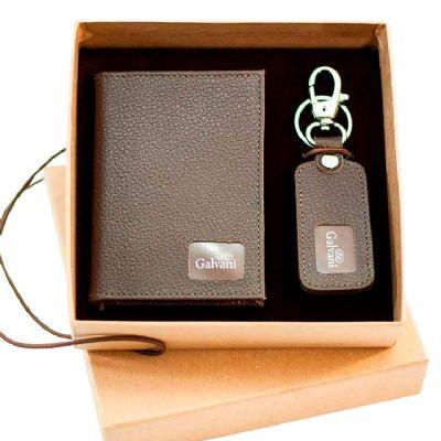 Kit em couro contento porta documento em couro e chaveiroem couro com detalhes para gravação. - Galvani