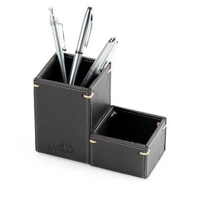 Galvani - Kit com porta lápis e porta clips em formato quadrado, todo pespontado.
