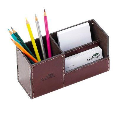 galvani - Kit de mesa com porta lápis, porta cartões e porta recado, todo pespontado.
