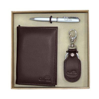 Kit com porta documento, chaveiro e embalagem caixa kraft com elástico. - Galvani