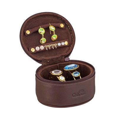 Galvani - Porta joias pequeno, todo pespontado com fechamento de zíper.