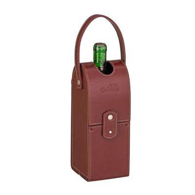 Porta vinho único com fechamento de botão, tampa vazada e alça de mão. - Galvani