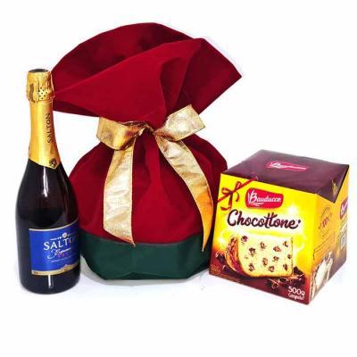 Kit de Natal com Chocottone 500 gramas e Espumante Salton 750ml Contém: 1 Panettone ou Chocottone...