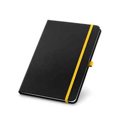 Caderno capa dura em sintetico A5. Com 80 folhas pautadas. 140 x 210 mm
