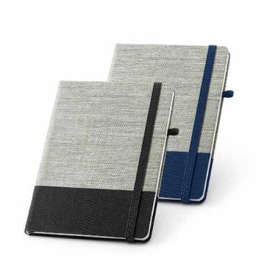 Caderno capa Dura em Palha e Algodão 15×21.96 folhas pautadas. Suporte para esferográfica. Esfero...