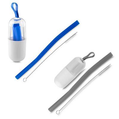 Kit canudo silicone portátil, com embalagem protetora e escova para limpeza. Escova em aço inox. ...