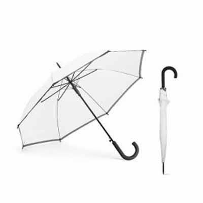 Guarda-chuva em Poliéster. Com faixa refletora. Pega revestida a borracha. Abertura automática. M...