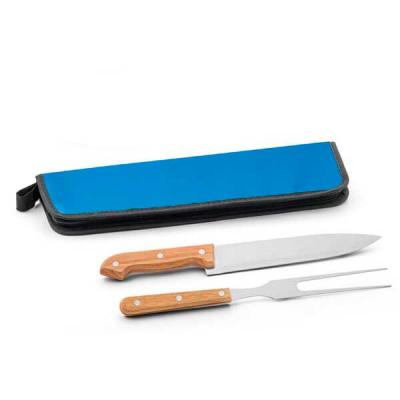 Kit churrasco. Aço inox e madeira. 2 peças em estojo de 210D Estojo: 350 x 130 x 20 mm
