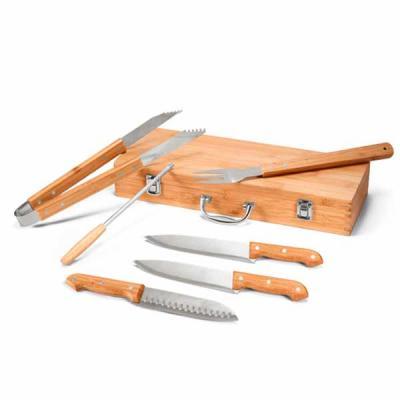 Kit churrasco em estojo de bambu. Aço inox e bambu. 6 peças+estojo de bambu. Food grade: 455 x 16...