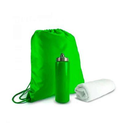 Kit esportivo 3 peças com mochila saco de nylon, squeeze plástico 950ml com tampa rosqueável e to...