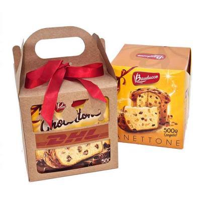 Kit de Panettone ou Chocottone 500 gramas com 1 caixa em Kraft Natal presente com laço de cetim.