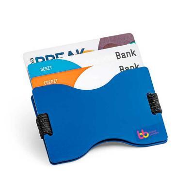 Porta cartões Alumínio. Acabamento mate. Com tecnologia de bloqueio RFID. Fita elástica em poliés...