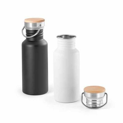 Squeeze em aço Inox 540 ml. Tampa em bambu. Medidas: Ø68 x 192 mm