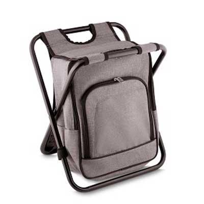 Bolsa térmica e cadeira, capacidade 25 litros, tecido nylon, com bolso frontal, cor cinza, alça c...