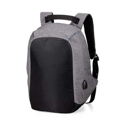 Mochila com formato anatômico e design moderno, mochila antifurto de poliéster com detalhes de nylon e entrada para USB.