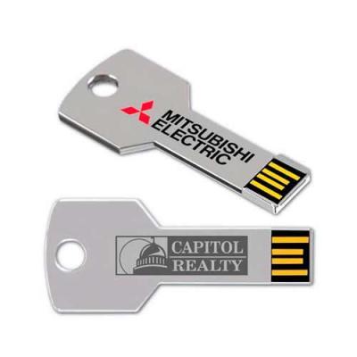Pen drive personalizado no atacado em formato de chave nas cores prata, azul, vermelho, rosa, ver...