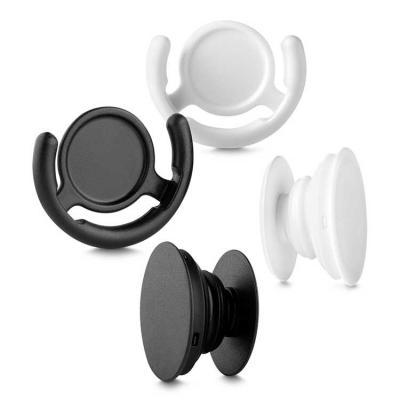 Pop socket nas cores branca e preta.