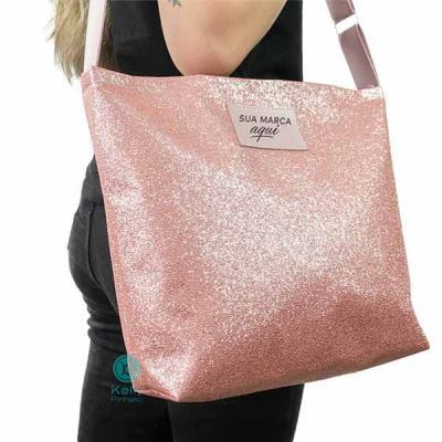 Sacola Glitter Rosa sintético com alça de poliéster de 3cm dourada