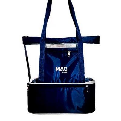 Bolsa de praia com compartimento térmico e um bolso frontal