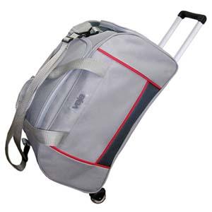 roar-material-promocional - Bolsa de viagem em poliéster com bolso lateral, alças e carrinho em alumínio.