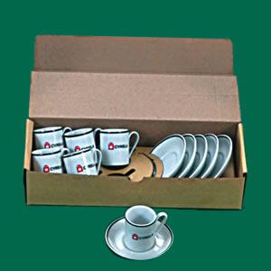Kosmos Decorações - Kit de xícaras para café com pires, modelo Brasília, embalagem com berço e 6 unidades.