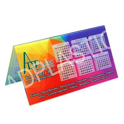 AD Plastic - Calendário de acrílico cristal recortado a laser, personalizado com sua arte através de impressão digital UV, dimensões 190x80mm