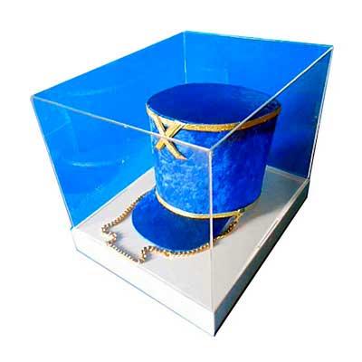 Cúpula quadrada, em acrílico cristal com base em acrílico branco. Perfeito para expor e proteger seu produto, dimensões aproximadas: 300x300x250mm