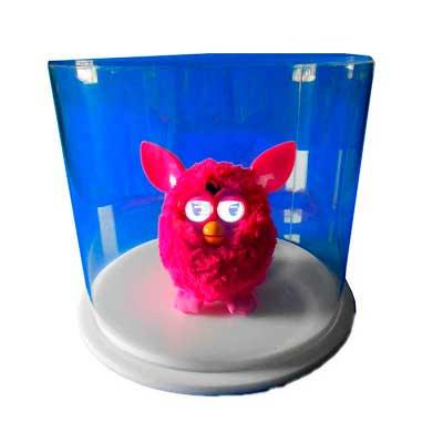AD Plastic - Cúpula redonda de acrílico cristal com recorte a laser e base de acrílico branco. Dimensões aproximadas: 300mm de Ø e 25mm de altura.