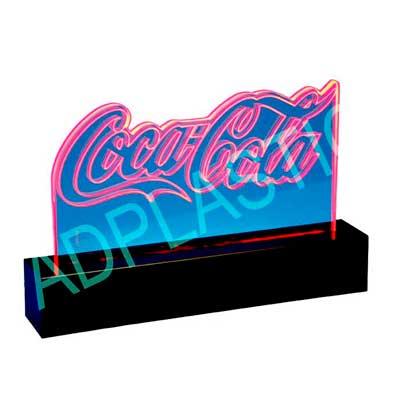 ad-plastic - Display de acrílico cristal. Recorte especial a laser e iluminação com sistema de LED. Dimensões gerais: Haste 310x160mm e base 360x70x70mm de profund...