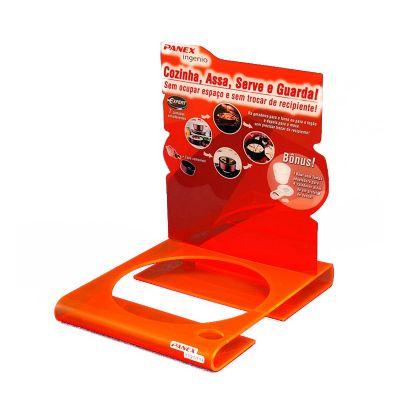 ad-plastic - Display para PDV em acrílico laranja neon. Personalizado em impressão digital UV. Dimensões gerais: Haste 300x280mm e base 350x40