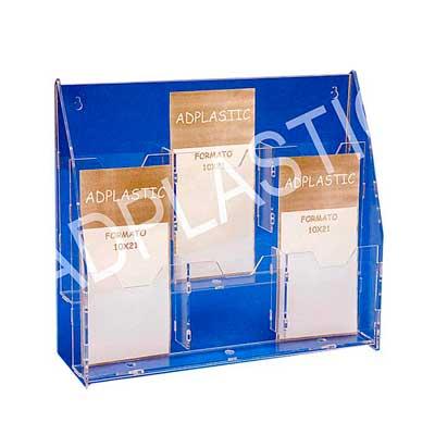 AD Plastic - Porta folheto de acrílico cristal recortado a laser, constituído por 06 bolsas para folhetos no tamanho 100x210mm, sendo cada uma com 30mm de profundi...