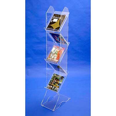 ad-plastic - Porta revistas ou catálogos - com 5 bandejas e estrutura em acrílico cristal, nas dimensões aproximadas 25 cm (larg.) x 45 cm (prof.) x 1,50 m (alt.)