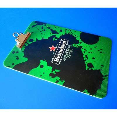 AD Plastic - Prancheta em acrílico ou poliestireno, suporte de ferro para fixação de folha e personalizado com impressão digital direta no acrílico