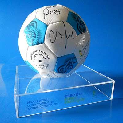 AD Plastic - Suporte para descanso de bola em acrílico cristal recortado a laser, personalizado com impressão UV direto no acrílico, dimensões aproximadas: 240x240...