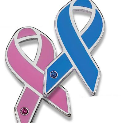 Pin laço outubro rosa e novembro azul e maio amarelo. - Sucesso Brindes
