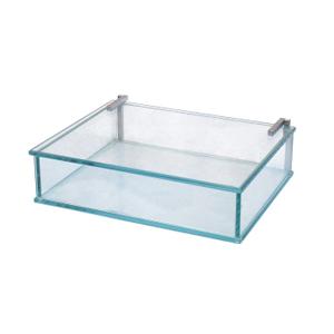 ozn-produz - Estojo de vidro lapidado, útil na organização de pequenos objetos.