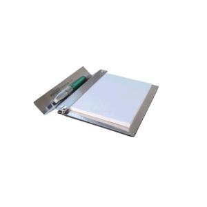 OZN Produz Presentes Corporativos - Porta bloco com canetas de aço inox.