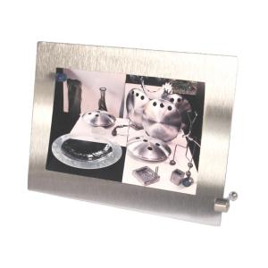 ozn-produz - Porta retrato de aço inox escovado e imãs coloridos.